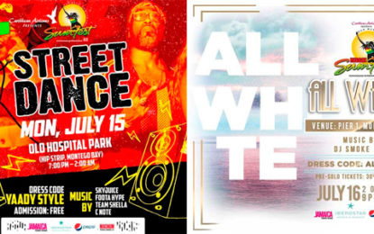'Street Dance' & 'All White'   Don't miss these two exciting pre-event parties of  Reggae Sumfest in Montego Bay, Jamaica