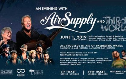 June 1, Jamaica: Charity concert with Air Supply and THIRD WORLD – Ocho Rios