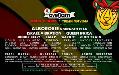 The line up for the eighth edition of the Overjam Festival in Slovenia includes  Alborosie, Israel Vibration and Queen Ifrica